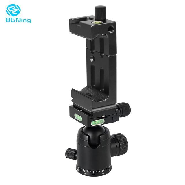 BGNing 360 Degree Panorama Ball Head Tripod Camera Mount Stand  Phone Holder Clip XJ 8 Flashlight Microphone With Spirit Level