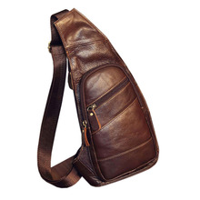 Mens Vintage Leather Sling Chest Bag Cross Body Messenger Shoulder Packet Motorcycle for Travel Riding Hiking Pouch