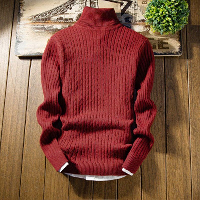 Sweater Turtleneck Pullover Knitwear Jumper High-Neck Men's Winter Fashion Casual Cotton