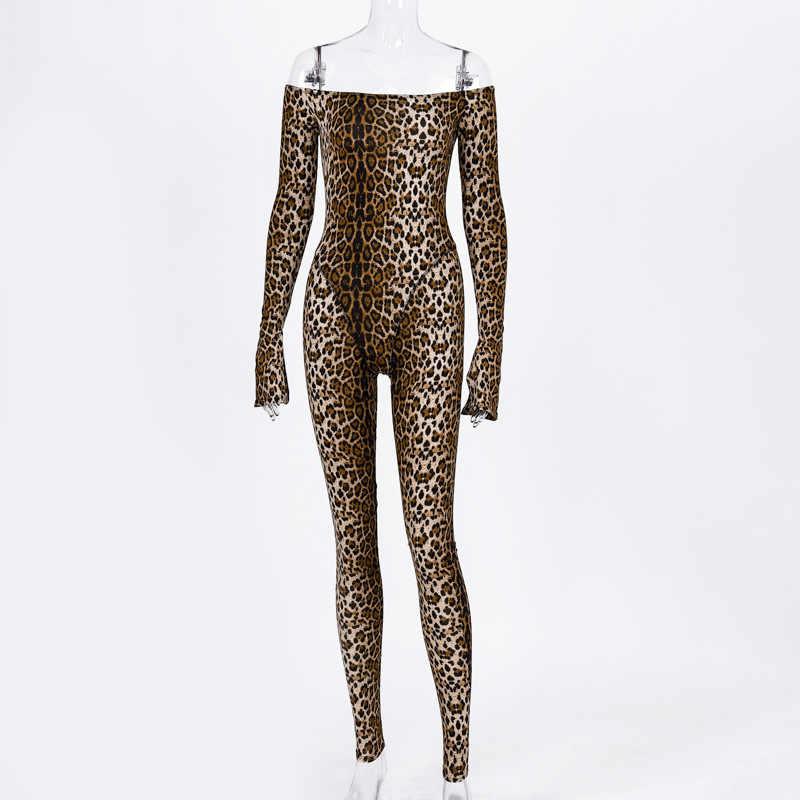 Sexy Nachtclub Catwoman Catsuit Tiger Stripe Print Off Shoulder Bodycon Jumpsuit Vrouwen Club Algehele Herfst Rompertjes Dunne Kostuum