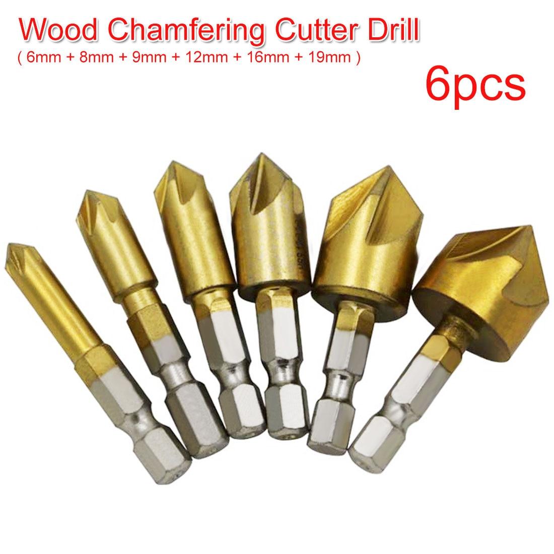 6pcs Countersink Drill Bit Hex Shank HSS 5 Flute Countersink 90 Degree Wood Chamfering Cutter Chamfer 6mm 8mm 9mm 12mm 16mm 19mm
