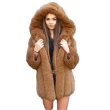 Women Jacket Hooded Fur-Collar Faux-Fur Plush Warm Winter Long Fashion Thick Solid