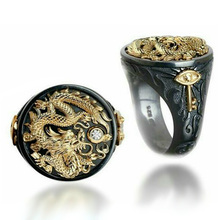 USTAR Ethnic Totem Dragon Men Rings Punk jewelry Black Gold Finger rings for women man unisex Anel party gift accessories
