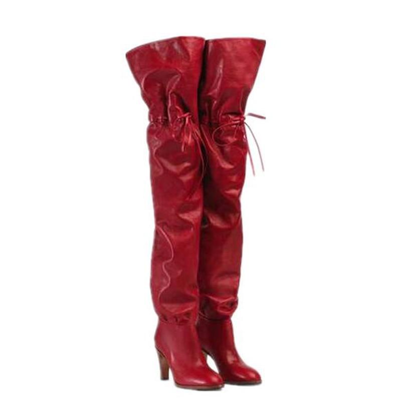 Nouvelle marque Design femmes talon carré cuissardes bout rond à bretelles sur le genou bottes Sexy 2019 hiver chaussures en cuir bottes