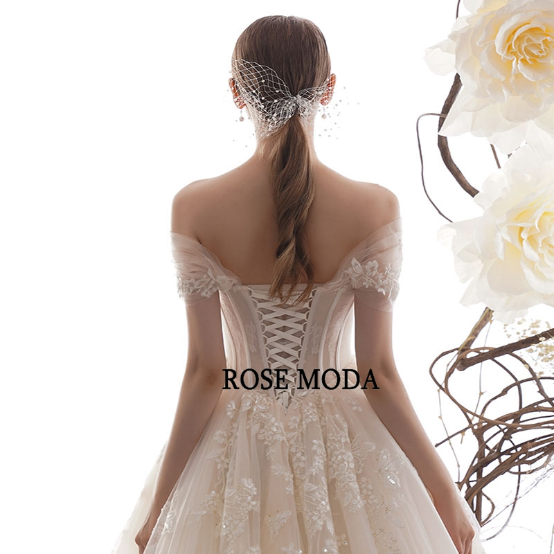 Image 5 - Rose Moda Off Shoulder Lace Wedding Dress 2020 Lace Up Back Custom MakeWedding Dresses   -