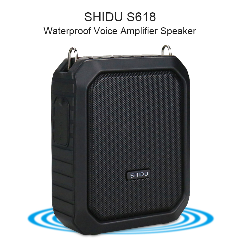 SHIDU 18W Portable Voice Amplifier Wireless UHF Microphone Waterproof Bluetooth Audio Speaker AUX TF USB Flash For Teachers M800