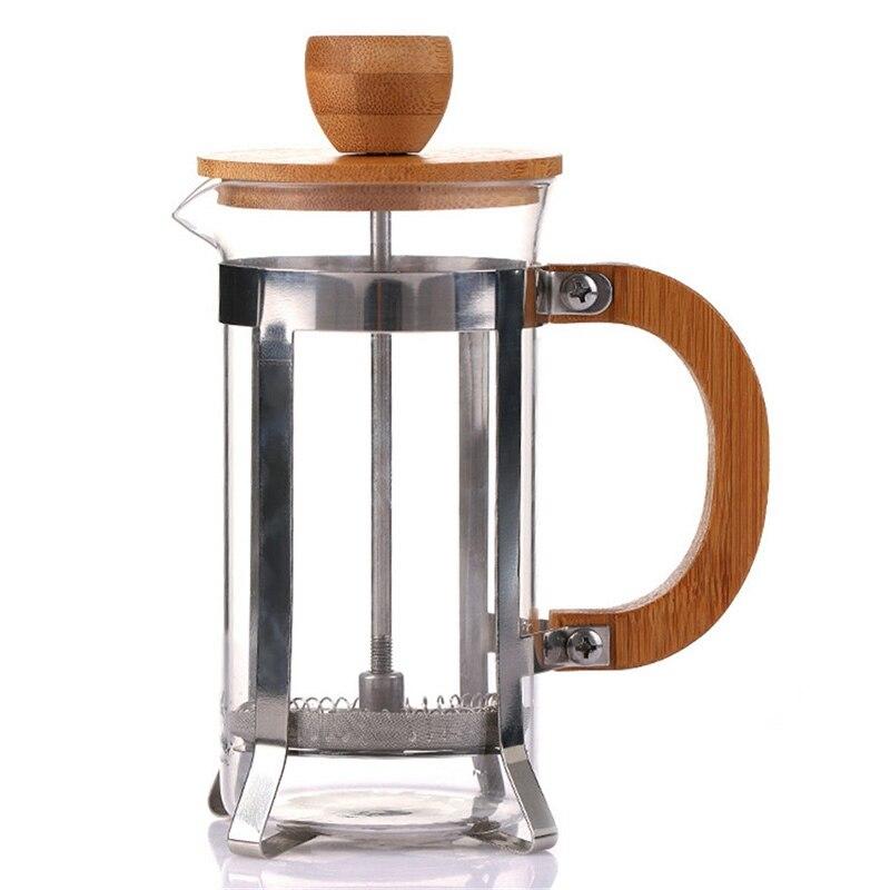 الفرنسية الصحافة صديقة للبيئة الخيزران غطاء القهوة المكبس ماكينة إعداد الشاي Percolator تصفية الصحافة غلاية قهوة وعاء أبريق شاي زجاجي