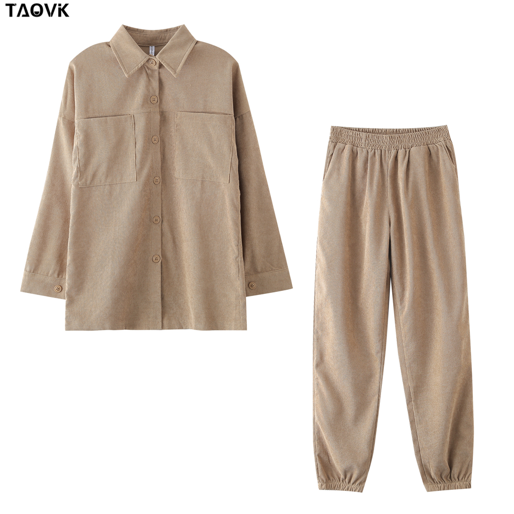 TAOVK Women's tracksuit corduroy  Pinstripe Single-breasted pocket Tops and pants women suits 11