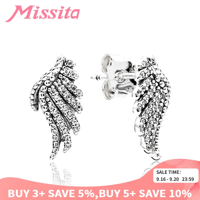 MISSITA Genuine 925 Sterling Silver Feather Fairy Wings Stud Earrings Silver for Women Brand Fashion Silver Jewelry Christmas in Stud Earrings from Jewelry Accessories