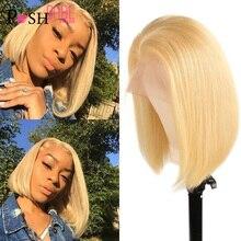 13x1 613 דבש בלונד קצר בוב תחרה מול שיער טבעי פאות עבור נשים רמי ברזילאי ישר שיער 1B 613 ombre צבעוני תחרה פאה