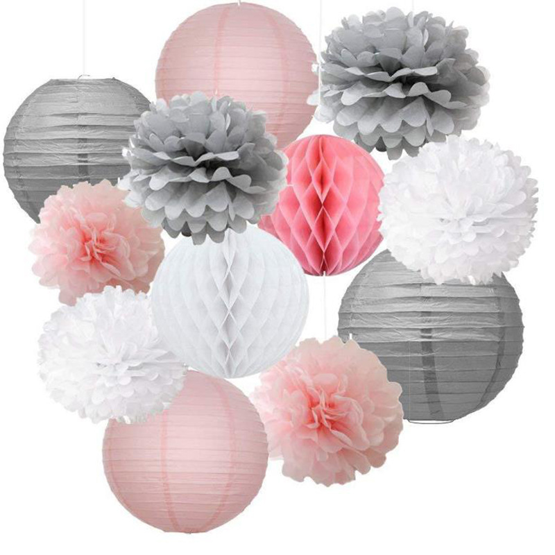 12pcs Mixed Pink Gray White Paper Pompoms Flower Hanging Paper Lantern Honeycomb Balls Wedding Birthday Shower Decoration