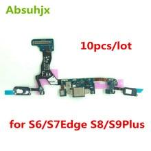 10 stücke Lade Port Flex Kabel für Samsung S6 S7 Rand S8 S9 Plus G920F G925F G930F G935F G950F G960F g955F USB Dock Conector