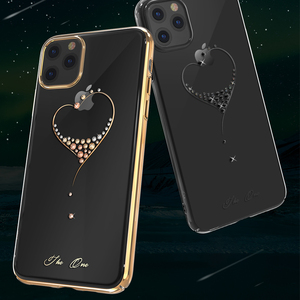 Image 4 - Kingxbar embelezado cristais caso para iphone 11/pro/max luxo coração strass diamante banhado a disco claro caso capa