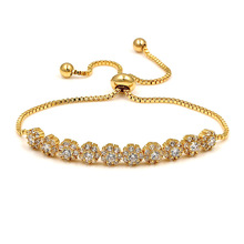 Top Quality Exquisite Round Cz Bracelet Rose Gold-Color Austrian Crystals Jewelry Big Discount