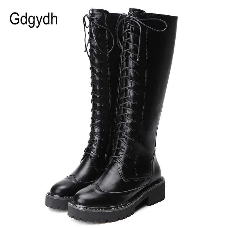 Gdgydh 2019 kış haberler kadınlar uzun çizmeler bağlama yuvarlak ayak platformu kadın diz-yüksek çizmeler İngiliz binici çizmeleri yumuşak deri