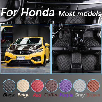Luxurious Leather Car Floor Mats For Honda All Models CRV XRV Odyssey Jazz City Crosstour Civic Crider Vezel Accord Custom Made image