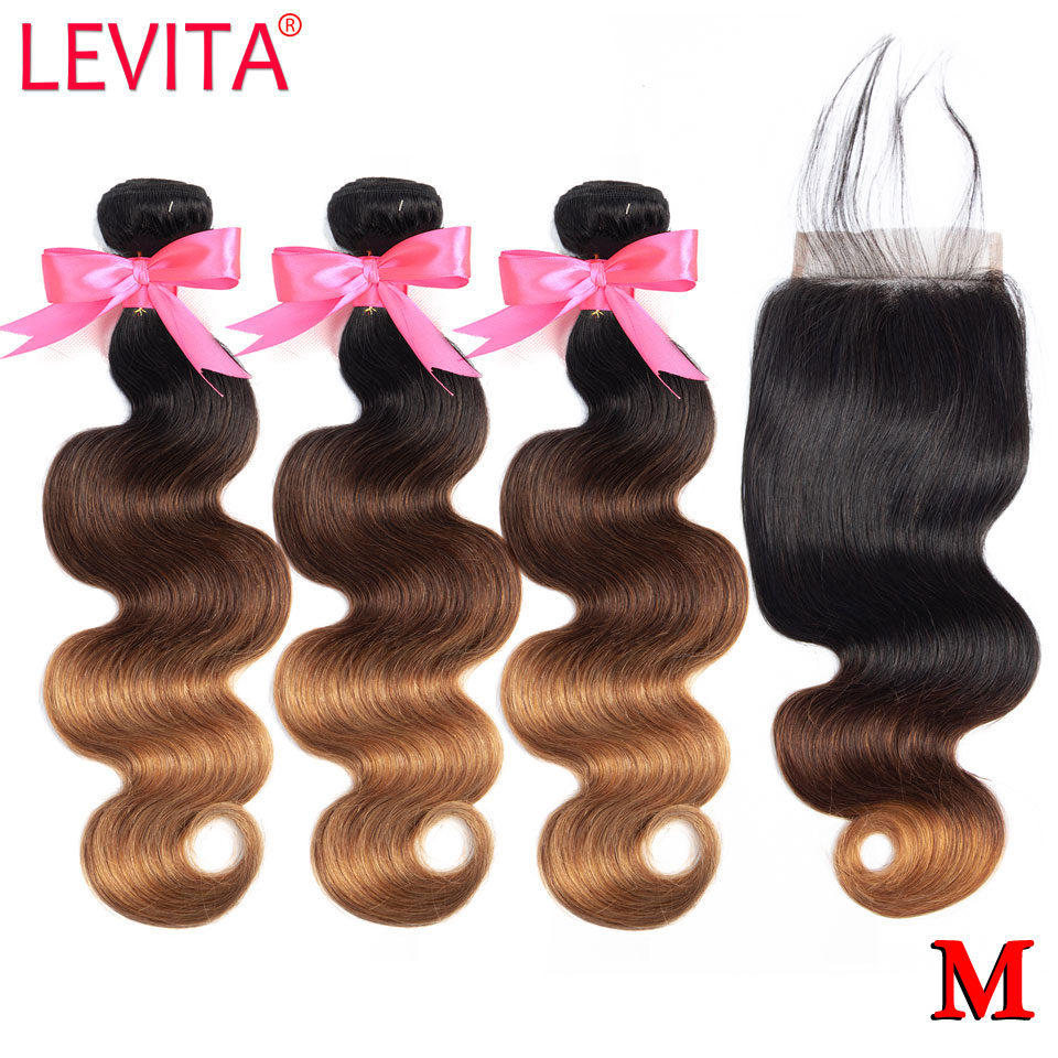 1B/4/30 Honey Blonde Ombre Bundles With Closure Non-Remy Brazilian Body Wave Human Hair Weave Bundles With Closure Middle Ratio