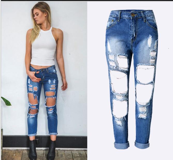 Модные джинсы-карандаш для девочек, джинсы для жены, обтягивающие рваные джинсы для женщин, женские джинсы-броги, Pantalon