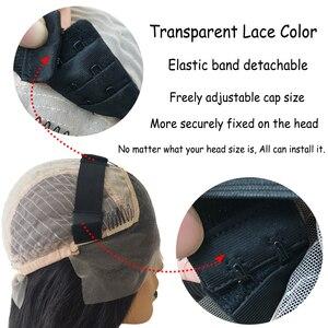 Image 3 - 180% prosto koronki przodu włosów ludzkich peruk z gumką brazylijski Remy przejrzyste koronki przodu włosów ludzkich peruk 13x4 dla kobiet