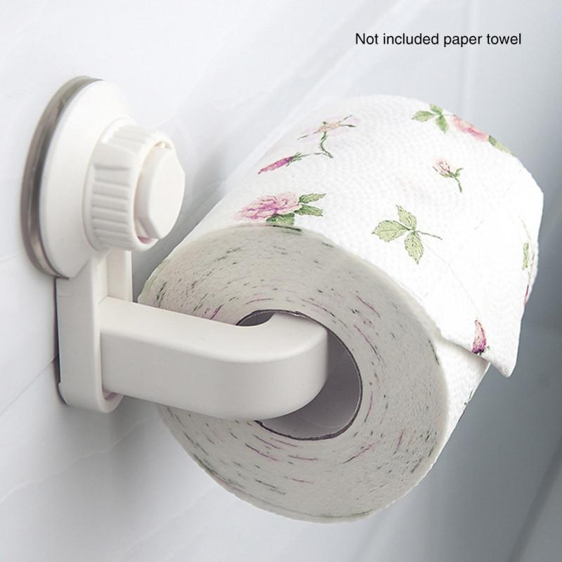 Toilet Paper Holder Suction Cup Rack Kitchen Bathroom Storage Proof Towel Accessories Shelf Toilet Paper Holder Wall Mounted