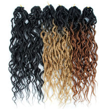 Synthetic Faux Locs Crochet Braid Goddess Hair Bohemian Locs pre-looped Ombre Braiding Hair Afro Dreadlock 16&24 Inches