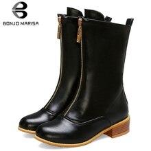 BONJOMARISA New Big Size 32-43 Brand High Top Zipper Booties Ladies Black mid-calf Boots Women 2019 Med Heels Date Shoes Woman
