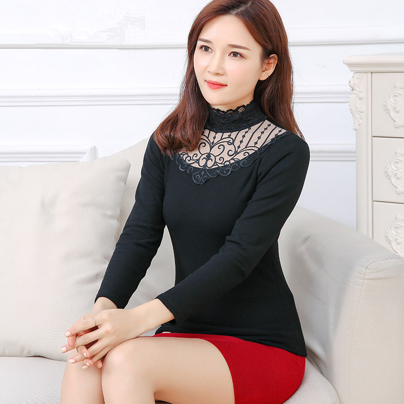 Plus Size Lace Thermal Underwear For Women High Quality Turtleneck Black Pullover Female Velvet Warm Tops Ladies Thermal Clothes