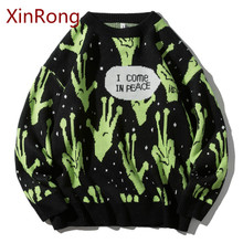 Autumn and winter new fashion brand sweater men's pullover knitted Harajuku alien hip-hop street clothing men's pullover sweater