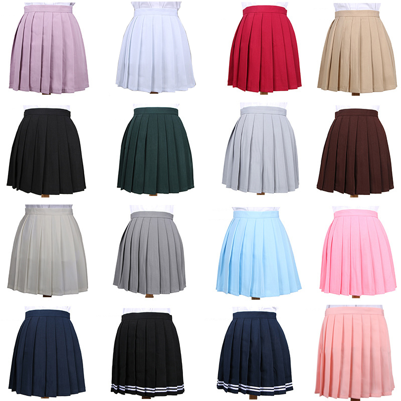 Women's Skirts Ladies Kawaii Pleated Cos Macarons Solid Color High Waist Skirt Female Korean Harajuku Clothing For Women Casual