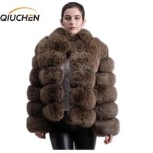 QIUCHEN PJ8139 1 2020 di trasporto del nuovo di inverno di spessore cappotto di pelliccia vera giacca di pelliccia di volpe di alta qualità di fox del cappotto del collare del basamento vestito