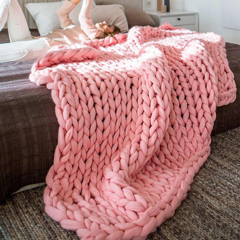 메리노 양모 Chunky 니트 담요 겨울 따뜻한 두꺼운 원사 부피가 큰 뜨개질 담요 수제 대형 큰 소파 침대 가중 담요