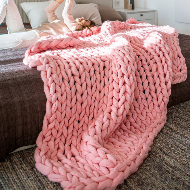 merino wool Chunky Knitted Blanket Winter warm thick Yarn Bulky Knitting blankets Handmade large big sofa bed weighted blanket(China)