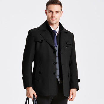 New Winter Wool Coat Slim Fit Jackets Mens Casual Warm Outerwear Jacket And Coat Men Pea Coat Size M-5XL Fashion