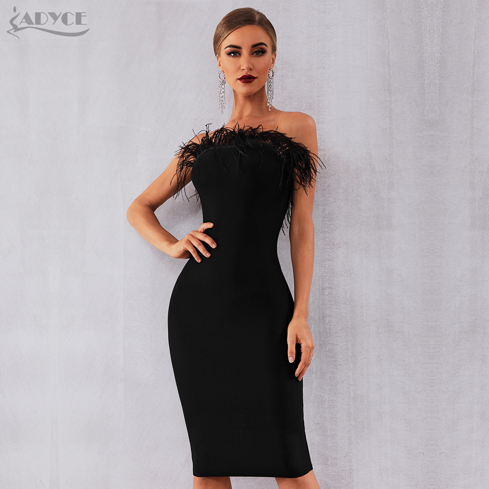 Adyce 2020 New Summer Women Bandage Dress Vestidos Sexy Black Feathers Sleeveless Strapless Bodycon Club Celebrity Party Dress