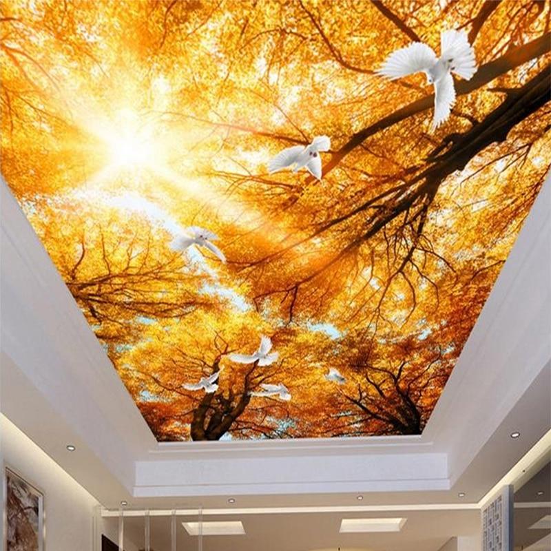 Dropship Custom Large Seamless Mosaic Ceiling Zenith Mural Wallpaper 3D Stereo Yellow Maple Dove Natural Decor 3D Ceiling Murals
