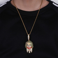 Hip Hop Necklace Movie Batman DC Joker Pendant Micro Pave Zircon Iced out Chain Gold Charm Jewelley For Men Women Gift