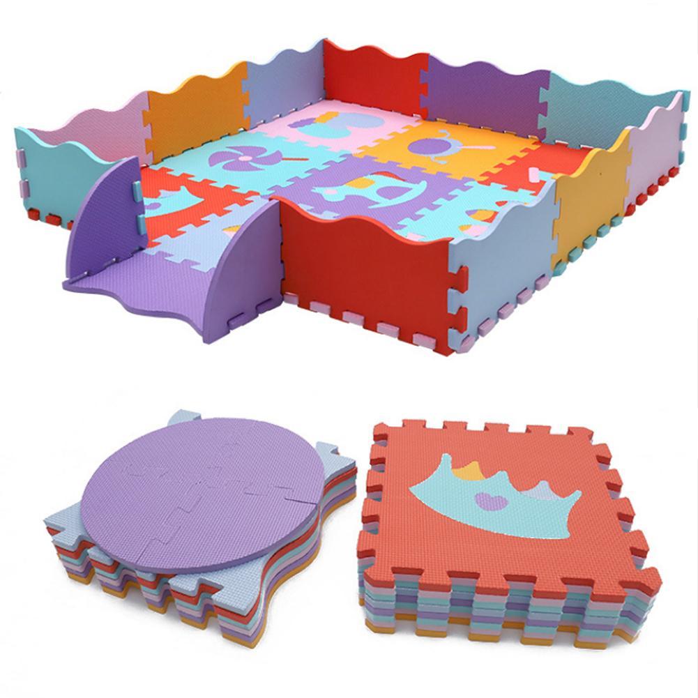 Kids Crawling Mat Cartoon Animal Pattern Carpet EVA Foam Puzzle Mats Child Floor Play Mat Baby Play Gym Crawling Mat With Fence