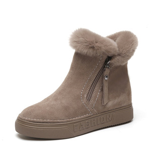 Image 5 - SWYIVY Flat Zipper Nubuck Woman Winter Boots 2019 Fashion Snow Ankle Boots For Women Shoes Short Plush Sewing Booties Solid Shoe