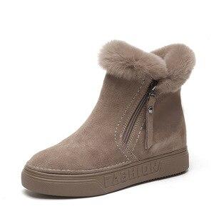 Image 5 - SWYIVY bottines plates en Nubuck pour femme, chaussures courtes en peluche, solides, tendance hiver 2019