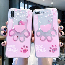 Glitter Quicksand Liquid Flowing Case for iPhone X XR XS MAX 6 6S 7 8 Plus Cute Pink Cat Paw Hard PC Back Cover Capa Gifts