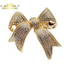 Victorian Vintage Style Micro Pave Clear CZ Golden Bow Brooches Tinny Stone Pave Antique Ribbon Bow Pins Wedding Party Accessory fabulous short tassel drops double yellow bird brooches silver tone micro pave cz green eyes two love birds pins for girlfriend