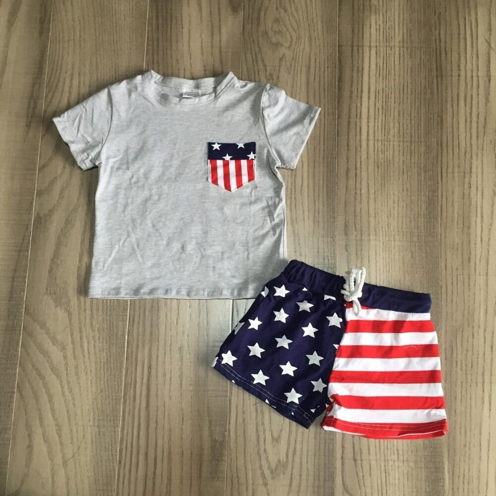 Baby Boy Summer July 4th Outfit Boys Flag Grey Shirt With Stars Stripe Shorts Baby Children Independence Day Clothing