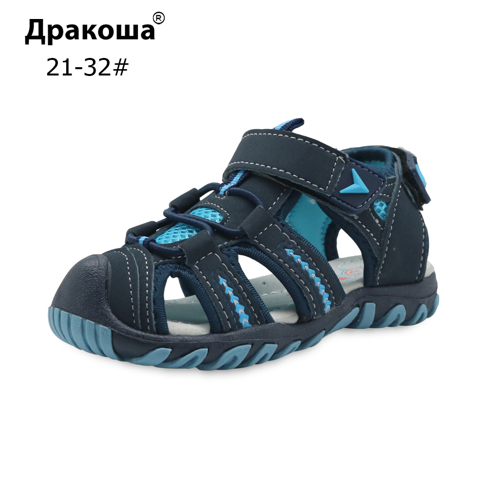 Apakowa Brand New Summer Children Beach Boys Sandals Kids Shoes Closed Toe Arch Support Sport Sandals for Boys Eu Size 21 32