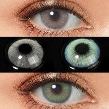 Hidrocor colorido lente de contato para olhos beleza lentes anuais azul cinza verde olho colorido contatos com caso de contato lente do olho