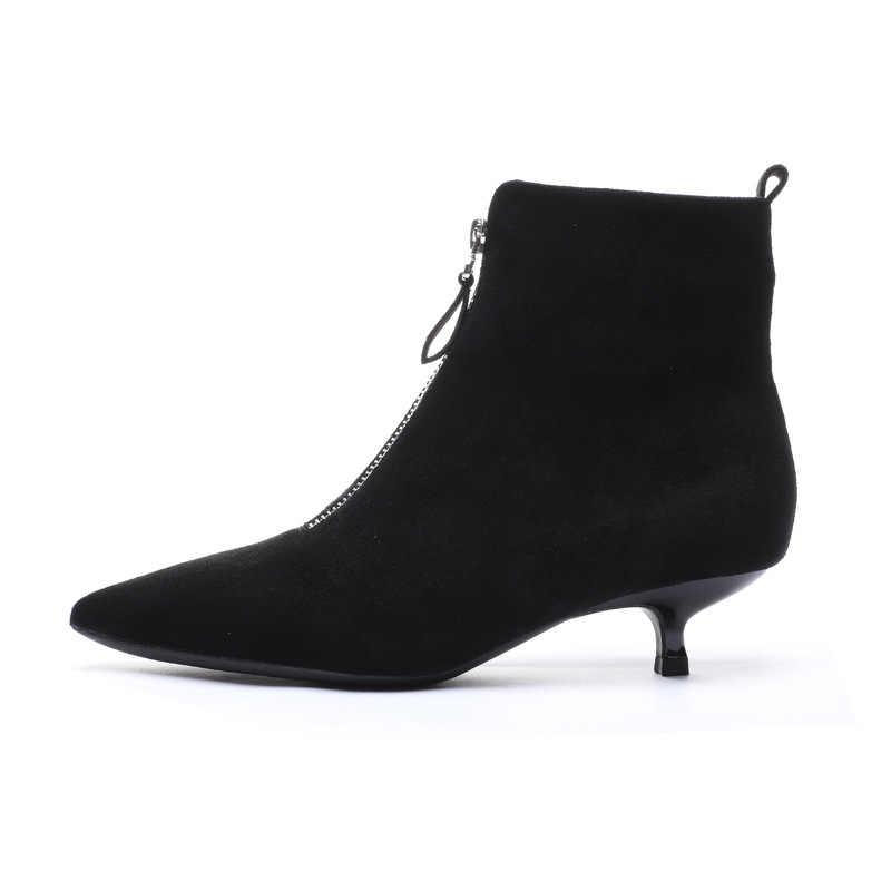 2019 siyah kış çizmeler kadın ayakkabıları kadın düz Zip-up sivri burun yüksek topuklu kadın çizme ayak bileği kovboy batı lastik patik