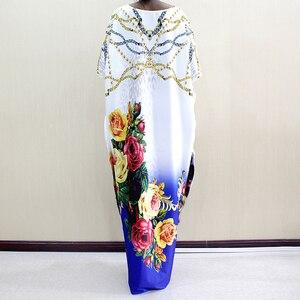 Image 5 - Новое модное Африканское платье Дашики с круглым вырезом и принтом из полиэстера с рукавом летучая мышь благородное длинное платье для женщин элегантное