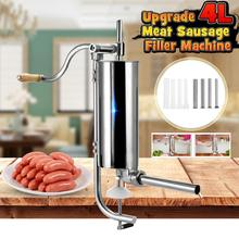 4L Stainless Steel Manual Sausage Stuffer Hand Operated Sausage Meat Filling Machine Kitchen Cooking Tools Sausage Maker Filler