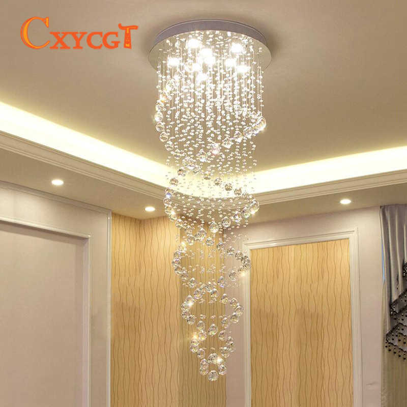 Modern LED Double Spiral Crystal Chandelier Lighting for Foyer Stair Staircase Bedroom Hotel HallCeiling Hanging Suspension Lamp