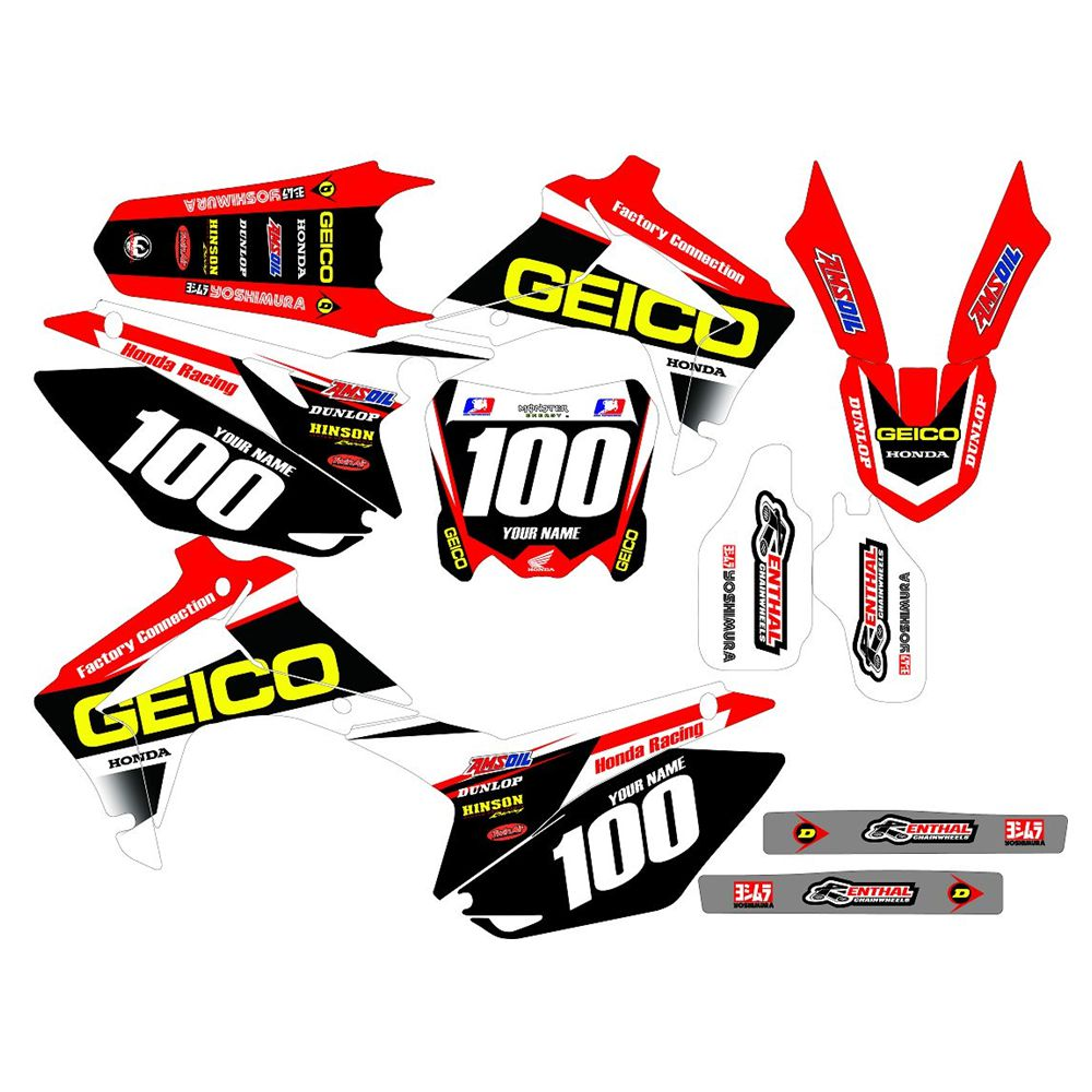 New Full Graphics Decals Stickers Custom Number Name 3M Matte Stickers Waterproof For HONDA CRF450R 2013 2014 2015 2016