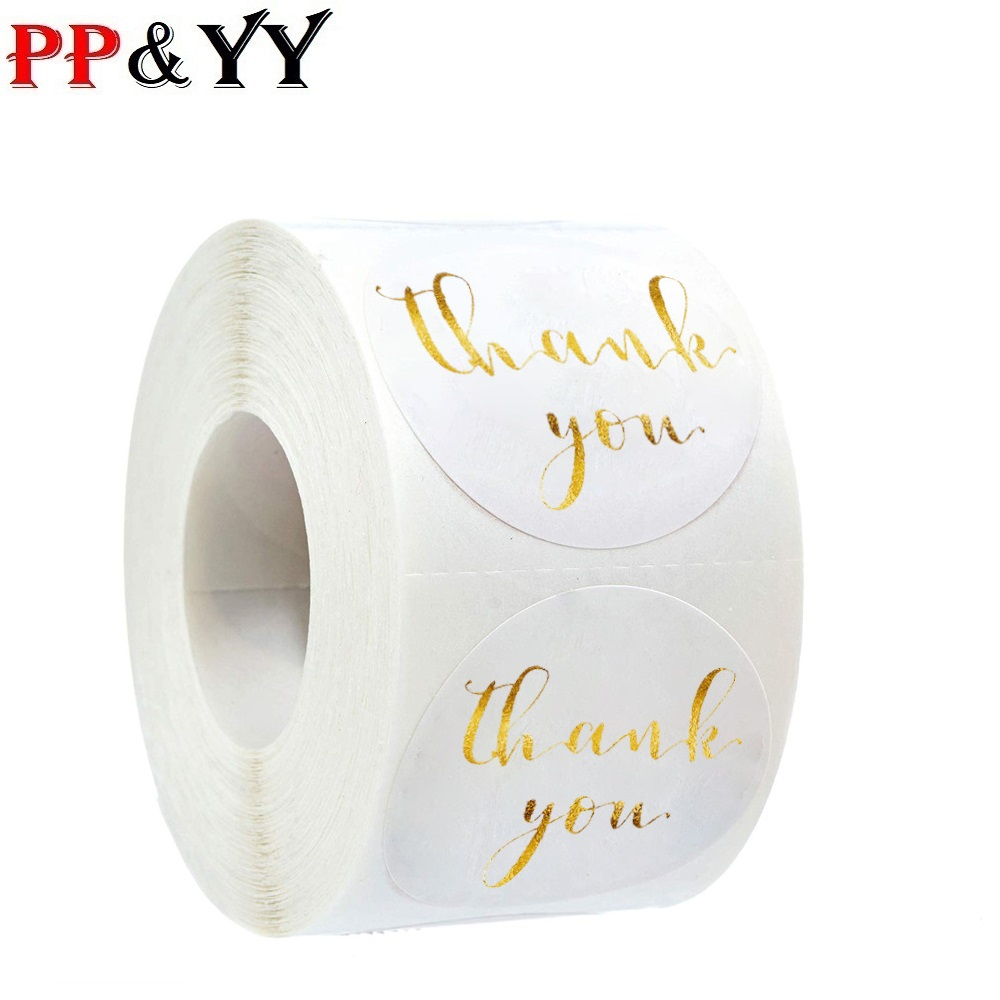 500 Pcs/roll White Gold Thank You Stickers Foil Round Scrapbooking Stationery Sticker Wedding Decoration Cake Baking Stickers
